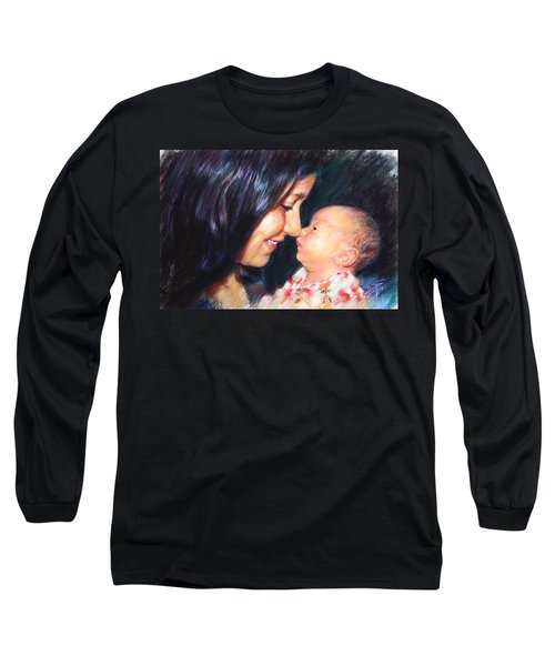 Long Sleeve T-Shirt featuring the drawing The Joy Of A Young Mother by Viola El