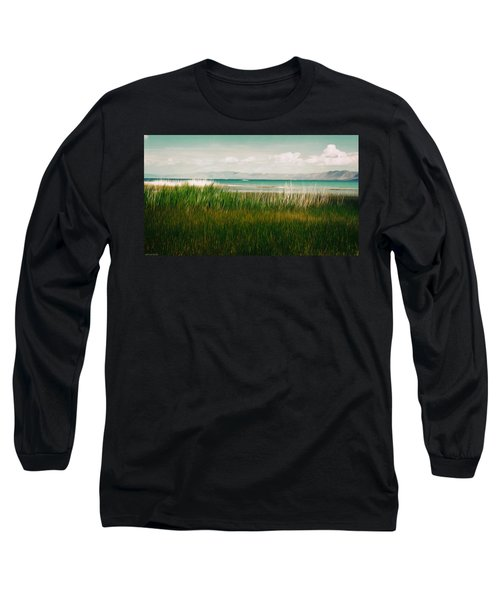 The Lake - Digital Oil Long Sleeve T-Shirt by Mary Machare