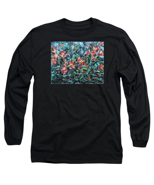 Long Sleeve T-Shirt featuring the painting The Late Bloomers by Xueling Zou