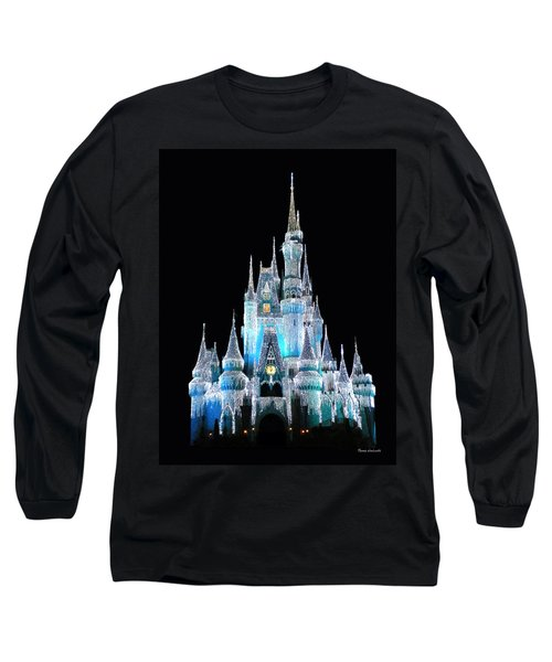 The Magic Kingdom Castle In Frosty Light Blue Walt Disney World Long Sleeve T-Shirt by Thomas Woolworth