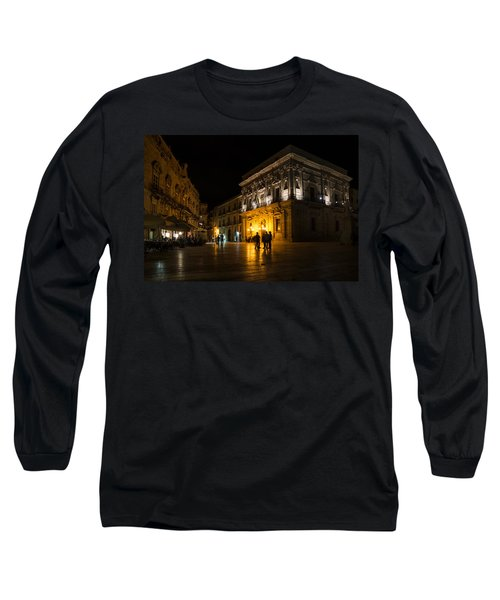 Long Sleeve T-Shirt featuring the photograph The Magical Duomo Square In Ortygia Syracuse Sicily by Georgia Mizuleva