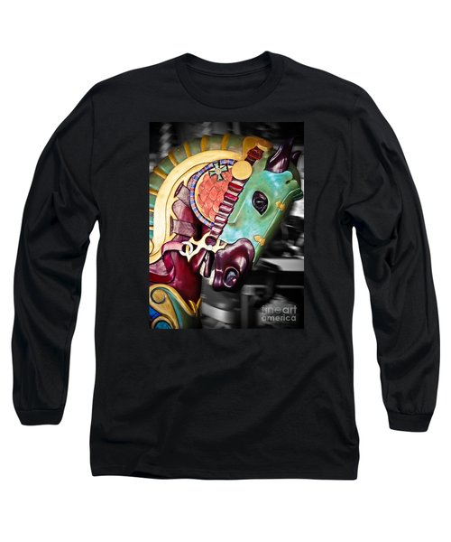 Carousel - The Masked Warrior Long Sleeve T-Shirt by Colleen Kammerer