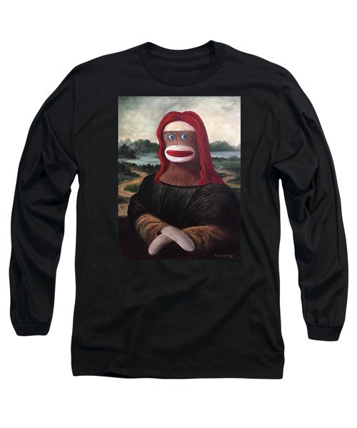 Long Sleeve T-Shirt featuring the painting The Monkey Lisa by Randol Burns