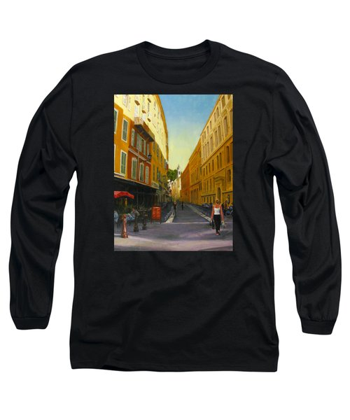The Morning's Shopping In Vieux Nice Long Sleeve T-Shirt by Connie Schaertl
