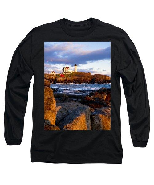 The Nubble Lighthouse Long Sleeve T-Shirt by Steven Ralser