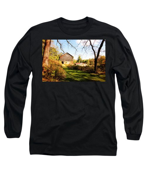 Long Sleeve T-Shirt featuring the photograph The Old Barn by Trina  Ansel