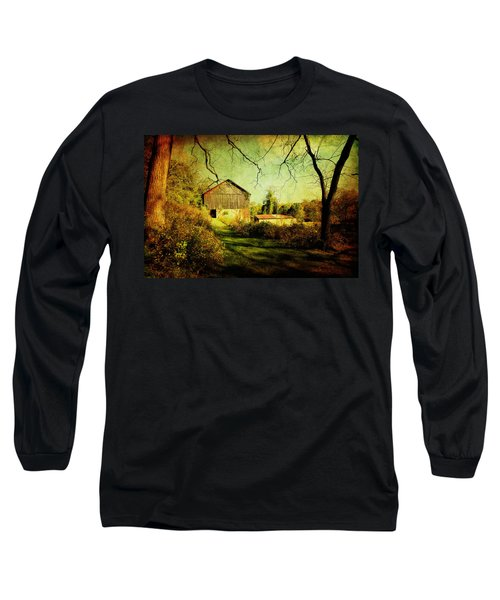 Long Sleeve T-Shirt featuring the photograph The Old Barn With Texture by Trina  Ansel