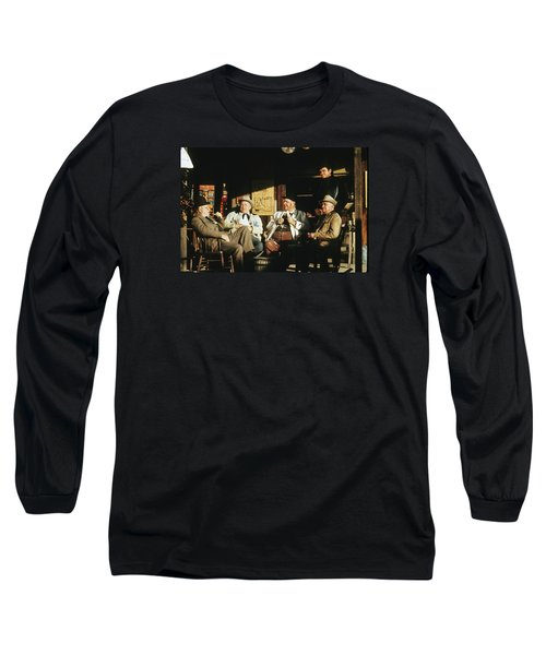 Long Sleeve T-Shirt featuring the photograph The Over The Hill Gang  Johnny Cash Porch Old Tucson Arizona 1971 by David Lee Guss