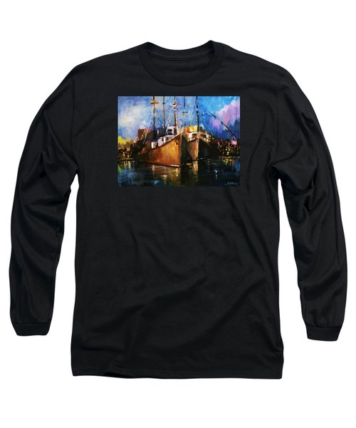 Long Sleeve T-Shirt featuring the painting The Pier At Sunset by Al Brown