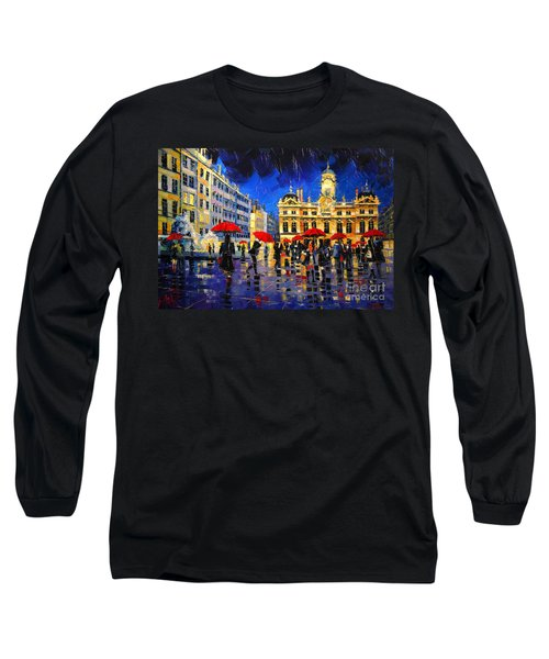 The Red Umbrellas Of Lyon Long Sleeve T-Shirt