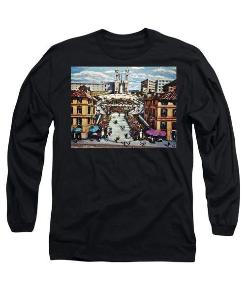 The Spanish Steps Long Sleeve T-Shirt by Rita Brown