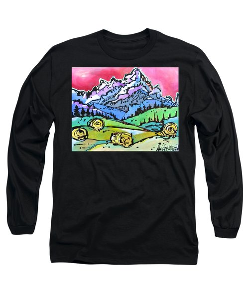 Long Sleeve T-Shirt featuring the painting The Tetons From Walton Ranch by Nicole Gaitan