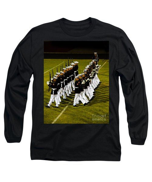 The United States Marine Corps Silent Drill Platoon Long Sleeve T-Shirt by Robert Bales