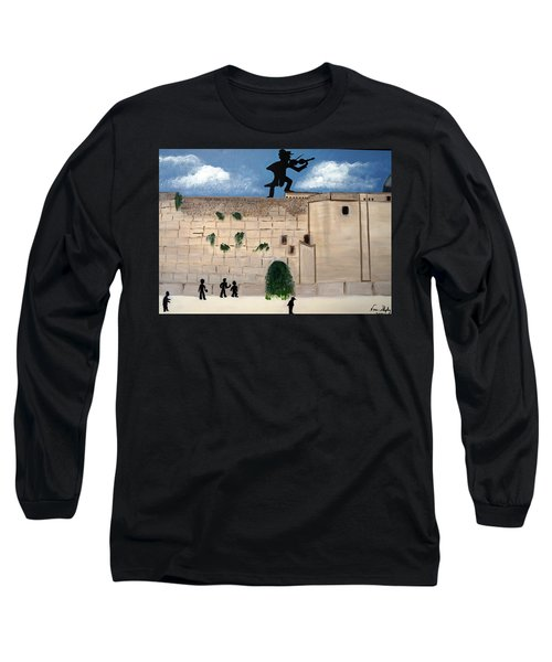 Long Sleeve T-Shirt featuring the painting The  Western Wall And Fiddler On The Roof by Nora Shepley