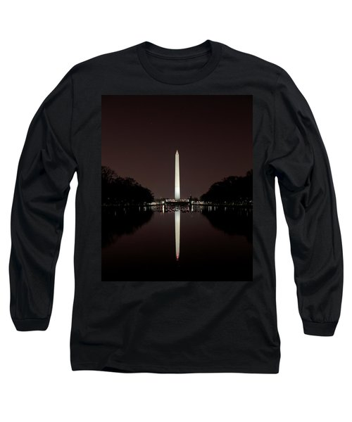 The Washington Monument - Reflections At Night Long Sleeve T-Shirt
