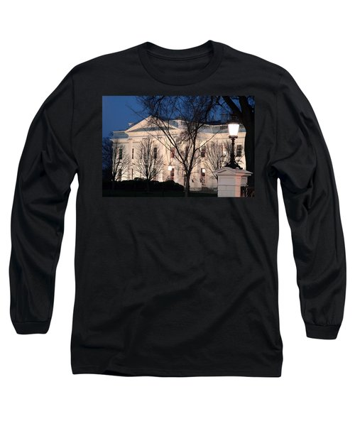 Long Sleeve T-Shirt featuring the photograph The White House At Dusk by Cora Wandel