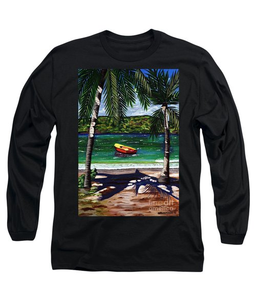 The Yellow And Red Boat Long Sleeve T-Shirt by Laura Forde