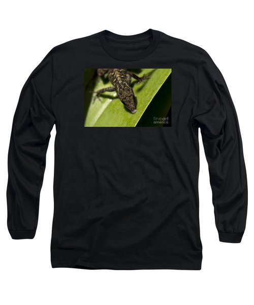 Long Sleeve T-Shirt featuring the photograph Thirsty Brown Anole by Meg Rousher