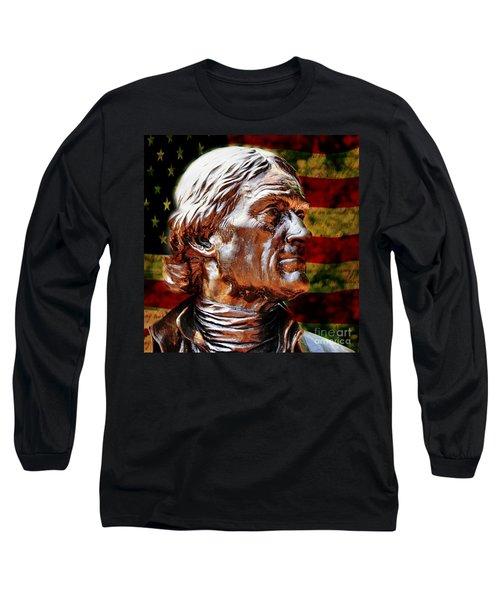 Thomas Jefferson Statue  Long Sleeve T-Shirt by Judy Palkimas