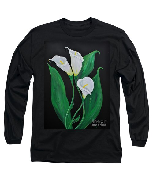 Long Sleeve T-Shirt featuring the painting Three Calla Lilies On Black by Janice Rae Pariza