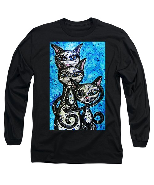 Three Grey Cats-alcohol Inks Long Sleeve T-Shirt by Danielle  Parent