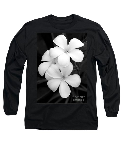Three Plumeria Flowers In Black And White Long Sleeve T-Shirt