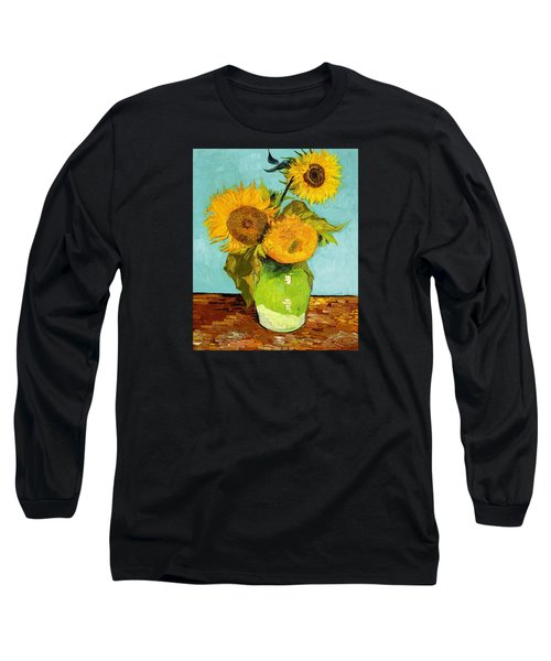 Three Sunflowers In A Vase Long Sleeve T-Shirt by Vincent Van Gogh