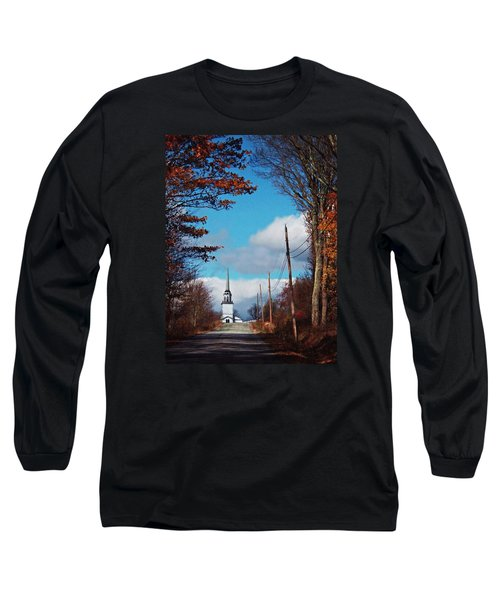 Long Sleeve T-Shirt featuring the photograph Through The Trees View Of The Norlands Church Steeple by Joy Nichols