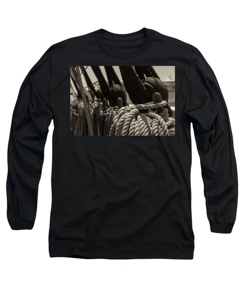 Tied Up Black And White Sepia Long Sleeve T-Shirt