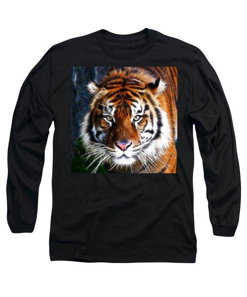 Tiger Close Up Long Sleeve T-Shirt by Steve McKinzie