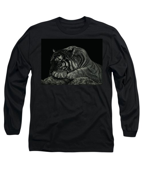 Tiger Power At Peace Long Sleeve T-Shirt by Sandra LaFaut