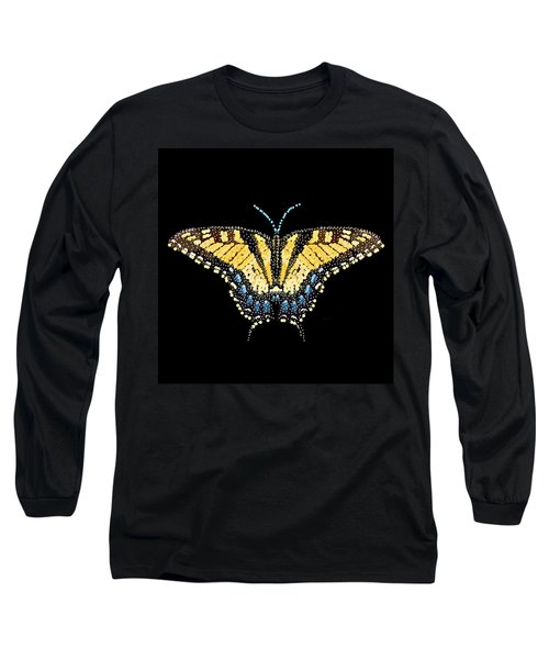 Tiger Swallowtail Butterfly Bedazzled Long Sleeve T-Shirt