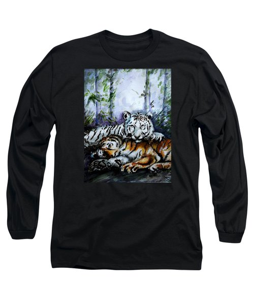 Long Sleeve T-Shirt featuring the painting Tigers-mother And Child by Harsh Malik