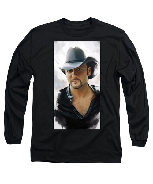 Long Sleeve T-Shirt featuring the painting Tim Mcgraw Artwork by Sheraz A