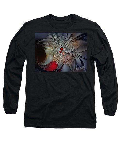 Timeless Elegance-floral Fractal Design Long Sleeve T-Shirt by Karin Kuhlmann