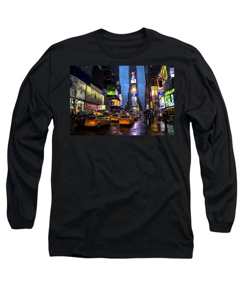 Times Square In The Rain Long Sleeve T-Shirt