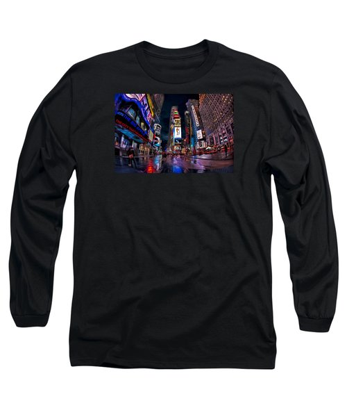 Times Square New York City The City That Never Sleeps Long Sleeve T-Shirt by Susan Candelario