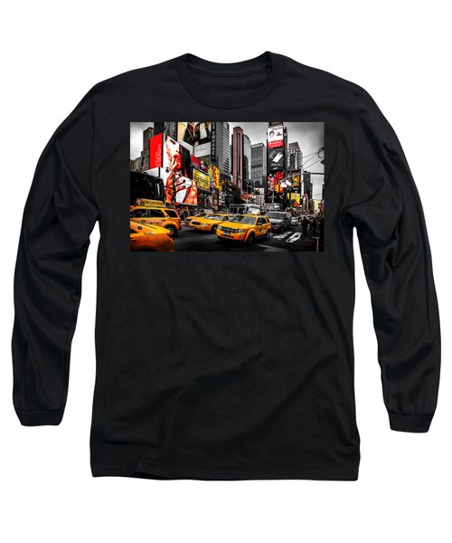 Times Square Taxis Long Sleeve T-Shirt by Az Jackson
