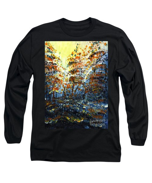 Long Sleeve T-Shirt featuring the painting Tim's Autumn Trees by Holly Carmichael