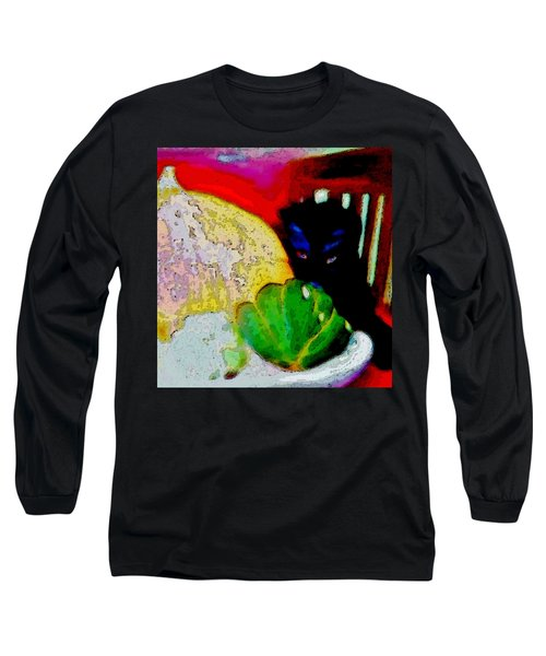 Long Sleeve T-Shirt featuring the painting Tiny Black Kitten by Lisa Kaiser