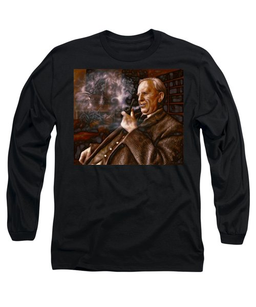 Long Sleeve T-Shirt featuring the painting Tolkien Daydreams by Dave Luebbert