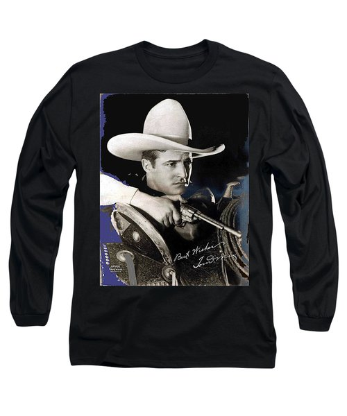Tom Mix Portrait Melbourne Spurr Hollywood California C.1925-2013 Long Sleeve T-Shirt by David Lee Guss