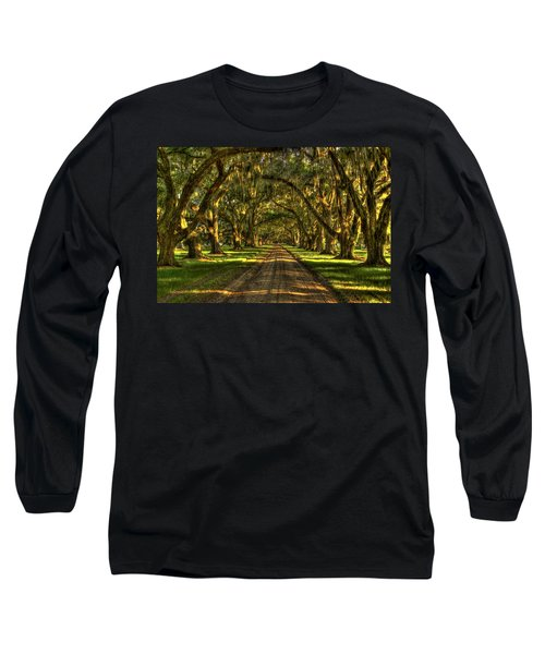 Afternoons Yellow Light Tomotley Plantation Historic Live Oaks Beaufort South Carolina Art Long Sleeve T-Shirt