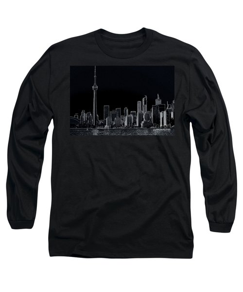Toronto Skyline Black And White Abstract Long Sleeve T-Shirt