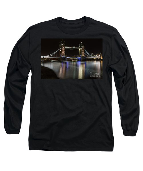 Tower Bridge With Boat Trails Long Sleeve T-Shirt