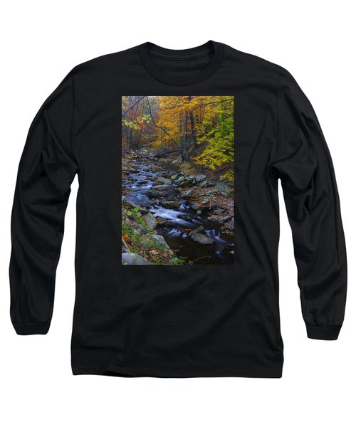 Tracking Color - Big Hunting Creek Catoctin Mountain Park Maryland Autumn Afternoon Long Sleeve T-Shirt by Michael Mazaika