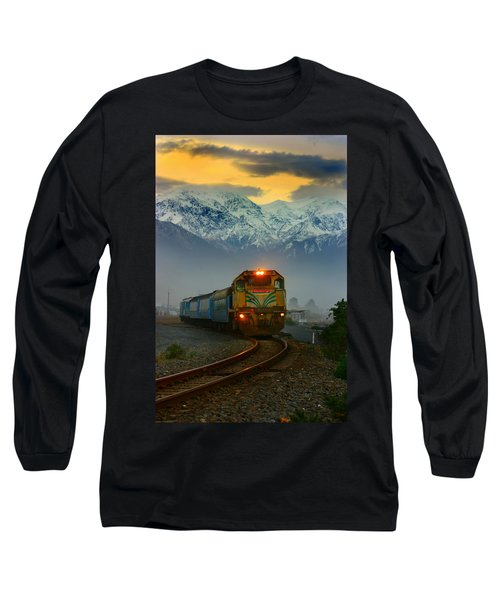 Train In New Zealand Long Sleeve T-Shirt by Amanda Stadther