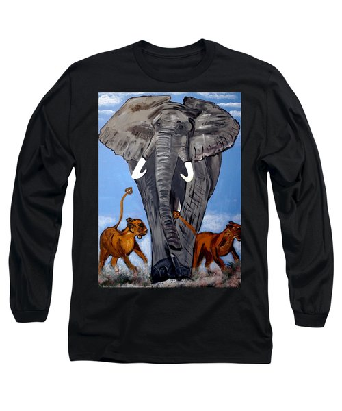 Long Sleeve T-Shirt featuring the painting Trampling Elephant by Nora Shepley