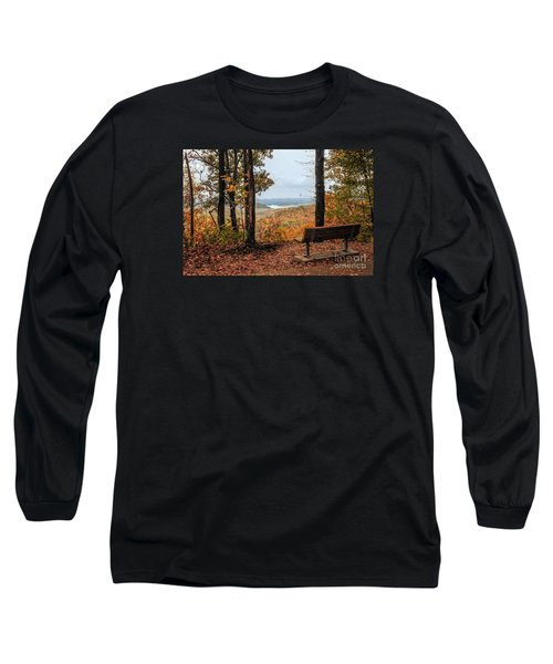 Long Sleeve T-Shirt featuring the photograph Tranquility Bench In Great Smoky Mountains by Debbie Green