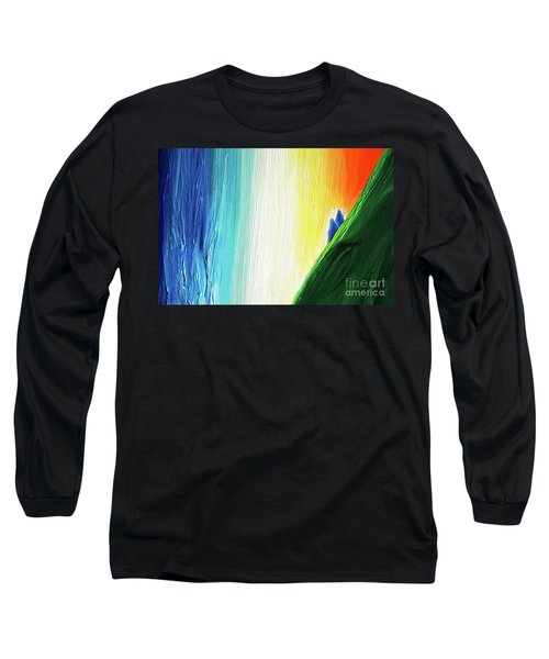 Long Sleeve T-Shirt featuring the painting Travelers Rainbow Waterfall Detail by First Star Art